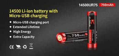 Klarus 14500 Li-ion 750mAh Micro USB Battery