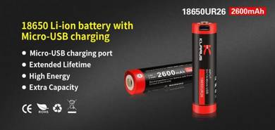 Klarus 18650 Li-ion 2600mAh Micro USB Battery