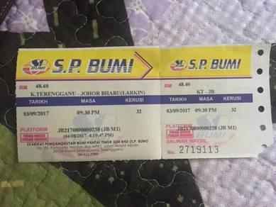 Tiket bas kuala terengganu - johor bahru