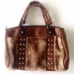 Fur Handbag with Diamond Beads