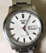Jam white Ori Seiko 5 Automatic steel watch