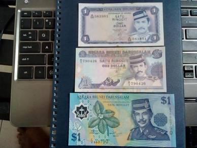 SATU RINGGIT Brunei A/38 B/9 C/4 x 3 EF Siri 2/3/4