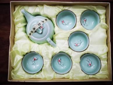 Fish Turquoise Ceramic Tea Cups Teaset