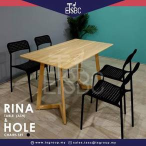 Rina table ( 12o x 70 cm ) + 4 hole chairs