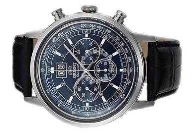 ORIENT Men Chronograph Leather Watch CTV02003D