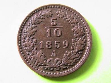 Austria 5/10 (half) Kruezer 1859 [Kod : A1309]