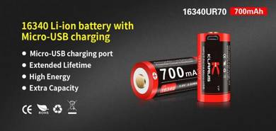 Klarus 16340 Li-ion 700mAh Micro USB Battery