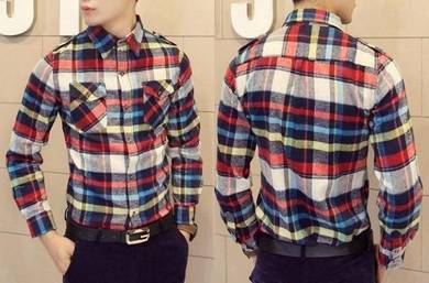 M0512 Colorful Plaid Slim fit Long Sleeved Shirt