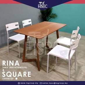Rina table ( 120 x 70 cm) + 4 square chairs
