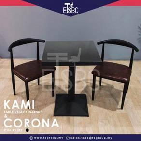 Kami table (60cm) + 2 corona chairs