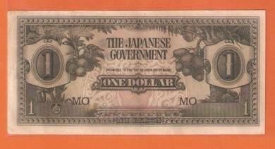 1 DoLLAR Prefix MO JAPANESE MALAYA WWII 1942-1945