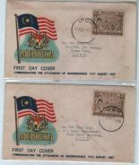 First Day Cover X2 Indepedence Day Merdeka 1957
