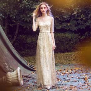 Gold glitter long sleeve prom dinner dress RBP0132