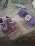 Handknitted set 0_12mnths