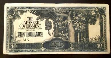 Duit Kertas Ten Dollars Jepun - Duit Lama