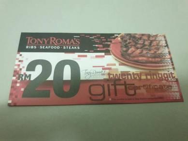 Tony ROMA'S MALAYSIA RM20 CASH VOUCHER (Save 25%)