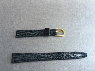 VINTAGE Black Lizard Calf Leather Watch Strap 13mm