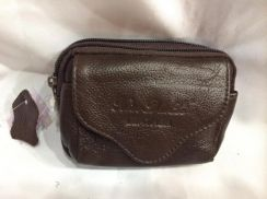 Mixed leather waist pouch