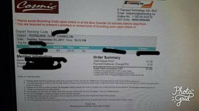 Bus ticket frm putrajaya to changlun on 3rd septem