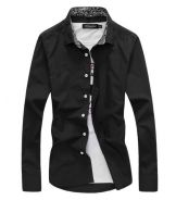 [74] Plain Collar 7 Long Sleeved Shirt (Black)