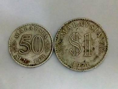 1971 Malaysia Parliament 50sen & RM1 Coins lot