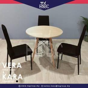 Vera table 80 cm + 3 kara chairs