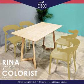 Rina table (12x70 cm)   4 colorist chairs