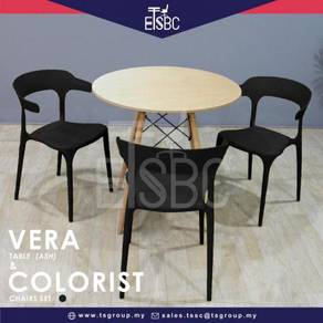 Vera table 80 cm + 3 colorist chairs