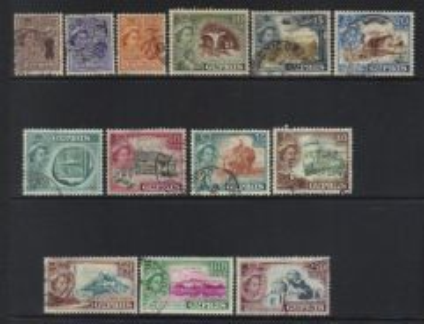 Cyprus 1955-1960 qeii sg182 used set of 13 bl268