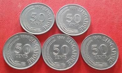 Singapore 50 Cent 1967 - 1981 (5 pcs)