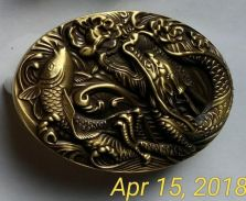 Solid Brass Buckle Dragon N Fish