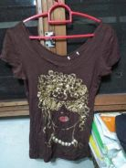 Brown tshirt with pearls