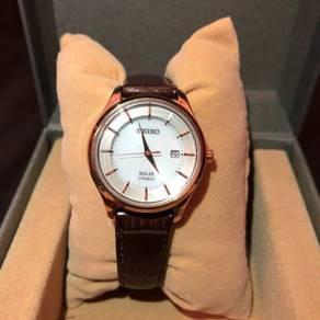 SEIKO Women�s Solar Brown Leather Strap Watch