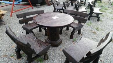 Pergola,meja batu, Set kerusi batu, Pondok kayu