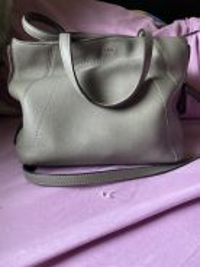 Bonia leather tote bag grey