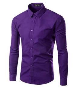 0515 READY STOCK Purple Formal Long Sleeved Shirt