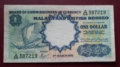 One Dollar 1959 Kapal Layar (Waterlow & Sons) A/56