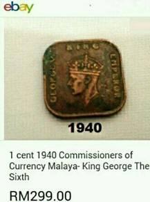 Duit syiling 1940 ~ 1sen Straits Settlements.