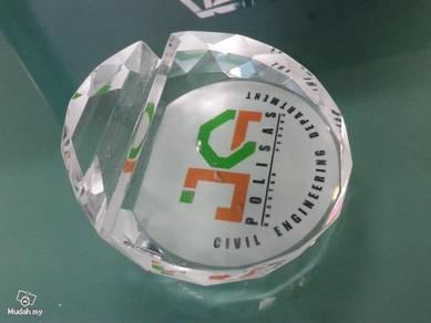 Crystal Paper weight cum namecard holder