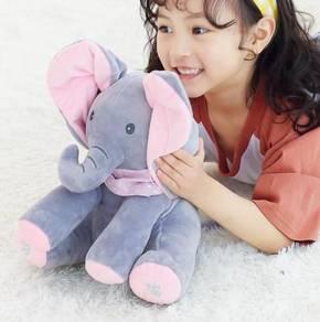 [READY ] Cute Peek-A-Boo Singing Elephant PINKGRAY