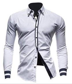 0543 READY STOCK Formal White Long Sleeved Shirt