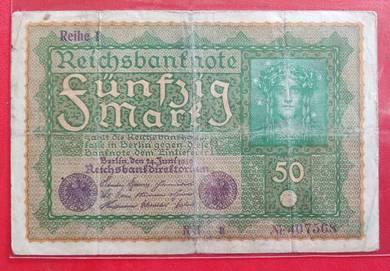 Wang Kertas GERMANY 50 Mark 1919
