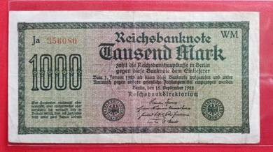 Wang Kertas GERMANY 1000 Mark 1922 (A)