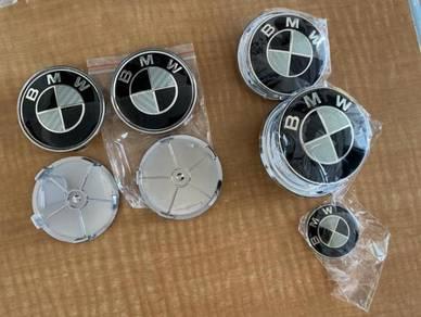 BMW Black Grey Carbon Fiber Look Emblem Decal Logo