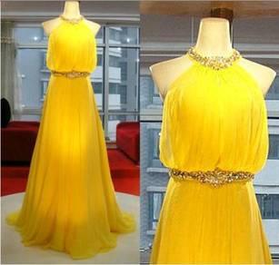Yellow prom dinner wedding dress RBP0145