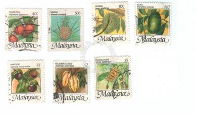 Use-d Stamp Fruit Definitive 7v Malaysia 1986