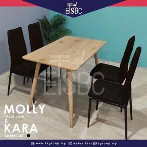 Molly table + 4 kara chairs