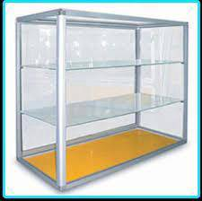 Aluminium and glass display showcase SCC1