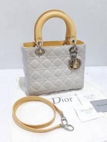 Authentic Lady Dior Medium Tricolour Lambskin