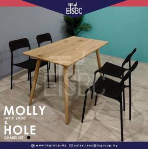 Molly table + 4 hole chairs